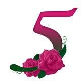 Floreale rosa di numero 5 Fotografie Stock