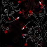 Floreale rosso & nero Fotografia Stock