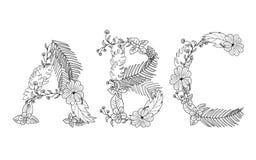 Floreale tropicale Segni A con lettere, la B, C Fotografia Stock Libera da Diritti