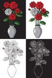 Florece dalias en florero Fotografía de archivo