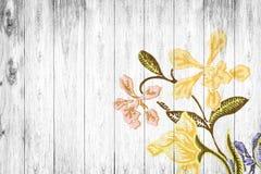 Florece el modelo de la tela en de madera viejo Foto de archivo libre de regalías