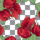 Florece el modelo inconsútil El whith de las rosas rojas del tatuaje de la escuela vieja se va en fondo gris y blanco a cuadros Fotografía de archivo libre de regalías