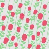 Florece el modelo inconsútil Rosas rojas con los troncos verdes Floral enríe stock de ilustración