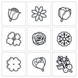 Florece iconos Ilustración del vector ilustración del vector