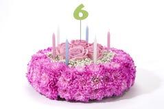 Florece la torta de cumpleaños Imagenes de archivo