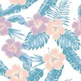 Florece las hojas tropicales del color frío abstracto del hibisco inconsútiles ilustración del vector