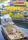 Florece los barcos en el mercado de la flor encendido a lo largo del muelle del canal Fotos de archivo libres de regalías