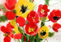Florece los tulipanes, acuarela Fotografía de archivo