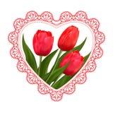 Florece tulipanes, el cordón y el corazón para el día del ` s de la tarjeta del día de San Valentín, boda y octavo de marzo Imágenes de archivo libres de regalías
