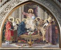 Florença - detalhe do Jesus Cristo de protal imagem de stock royalty free