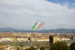 Florença, Itália - março, 28 2018: Airshow de PAN Frecce Tricolori Fotos de Stock