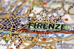 Florença no mapa Fotografia de Stock