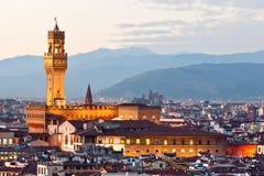 Florença, Palazzo Vecchio, della Signoria da praça. Fotografia de Stock