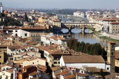 Florence. Cityscape of Florence with famous old bridge Ponte Vecchio on the Arno river Stock Image