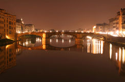 Florence. A bridge in Florence, Italy at night Stock Photo