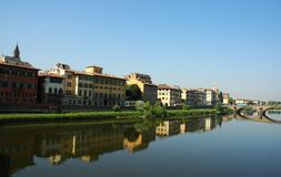 Florence. Panorama of Florence, view from Ponte Vecchio Stock Photos