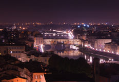 Florence. Ponte Vecchio (Old Bridge) in Florence/Firenze, Italy at night Stock Photography