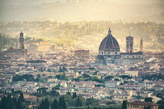 Florence aerial foggy cityscape. Panorama view from Fiesole hill Stock Photos