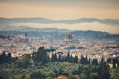 Florence aerial foggy morning cityscape. Panorama view from Fiesole hill, Italy Royalty Free Stock Photos