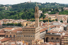 Florence - Aerial view of Palazzo Vecchio from Giotto's Bell Tow. Aerial view of Florence city with Palazzo Vecchio Stock Photos