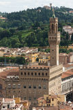 Florence - Aerial view of Palazzo Vecchio from Giotto's Bell Tow Stock Photography