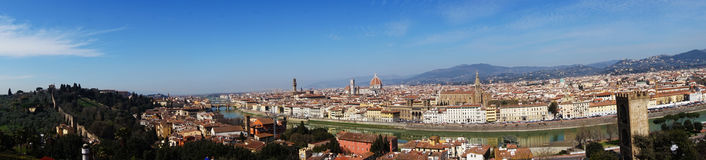 Florence: Amazing panorama 180 degrees from Piazzale Michelangelo, sunny day, Florence, Italy.  Stock Photography