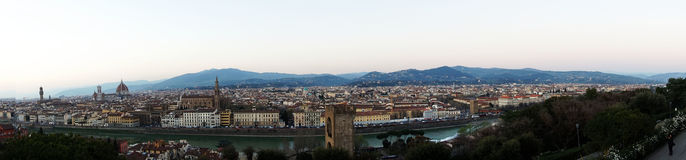 Florence: Amazing panorama 180 degrees from Piazzale Michelangelo, sunny day, Florence, Italy.  Stock Image