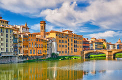 Florence Architecture Italy Cityscape River-Reflexion Lizenzfreies Stockfoto