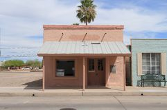 Old Sonoran Style Saloon. This, so called, Charles Rapp Saloon in Florence, Arizon was built in the 1870s in the traditional Sonoran style, with adobe walls and royalty free stock photo