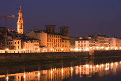 Florence and the Arno. Picture of the river Arno in Florence during the night stock photos