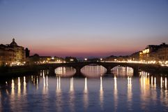 Florence, Arno river at dawn Royalty Free Stock Photo