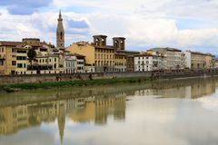 Florence Arno River. Arno river in this panoramic view of Florence royalty free stock images