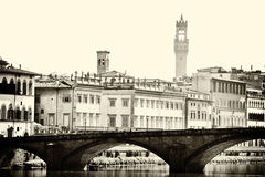 Florence arno river view sepia Stock Images