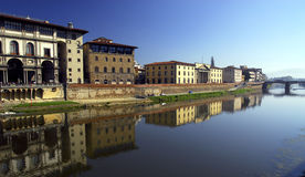 Florence - Arno Riverside. The Arno riverside from the Uffizi buildings in the morning sun Royalty Free Stock Image