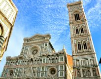 Florence art landmarks , Italy. Giotto's Campanile is a free-standing campanile that is part of the complex of buildings that make up Florence Cathedral on the Stock Images