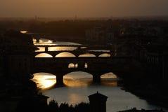 Florence avec le vecchio de ponte Images libres de droits