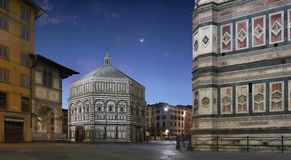 Florence Baptistery and Giotto`s bell tower stock photo