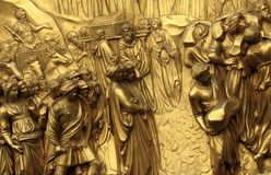 The Famed Golden Gates of Paradise in Florence, Italy by Lorenzo Ghiberti. The Florence Baptistery Italian: Battistero di San Giovanni, also known as the Royalty Free Stock Photo
