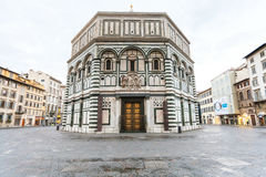 Florence Baptistery of Saint John in morning. FLORENCE, ITALY - NOVEMBER 4, 2016: view of Baptistery San Giovanni Baptistery of Saint John in morning. The royalty free stock photography