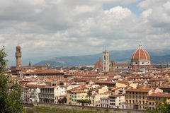 Florence - Basilica di Santa Maria del Fiori with Tower of Campanile di Giotto and Palazzo vechio. General view of old town in Florence stock photography