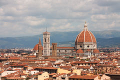 Florence - Basilica di Santa Maria del Fiori with Tower of Campanile di Giotto. General view of old town in Florence stock image