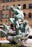 Florence - berömd springbrunn av Neptun på piazzadellaen Signoria, Arkivbilder