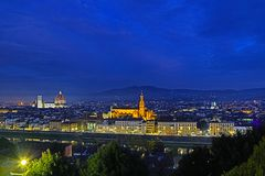 Florence bij nacht, Itali? royalty-vrije stock afbeelding