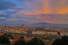 Florence bij zonsopgang, Itali? royalty-vrije stock afbeelding