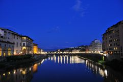 Florence blue hour. The beautiful river Arno in lovely Florence shot shortly after sunset Stock Image