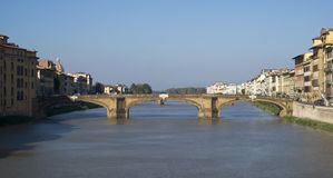 Florence. Bridge on the Arno river. Florence. The Ponte Santa Trinita, Bridge on the Arno river. View from Ponte Vecchio Royalty Free Stock Photo