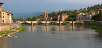 Florence Bridge with Hills, Close-Up Royalty Free Stock Image