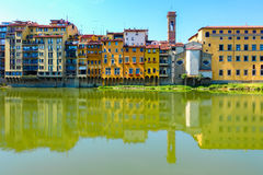 Florence buildings reflect on the river Stock Image