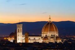 Florence Cathdral au twilligt, Italie Images libres de droits