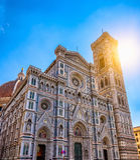 Florence Cathedral av St Mary av blomman, Florence Duomo Duomo di Firenze och och Giotto s Campanile av Florence Cathe Arkivfoto